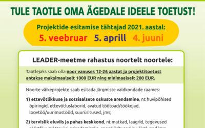 TULE TAOTLE OMA ÄGEDALE IDEELE TOETUS! Tartumaa noortefondi 2021. aasta taotlusvoorud on 5. veebruaril, 5. aprillil  ja 4. juunil